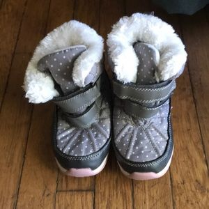 Grey with White polka dot winter boots